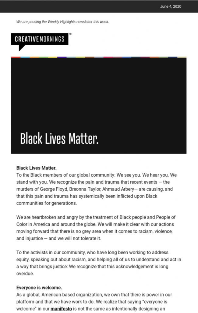 powerful email statement by creative mornings