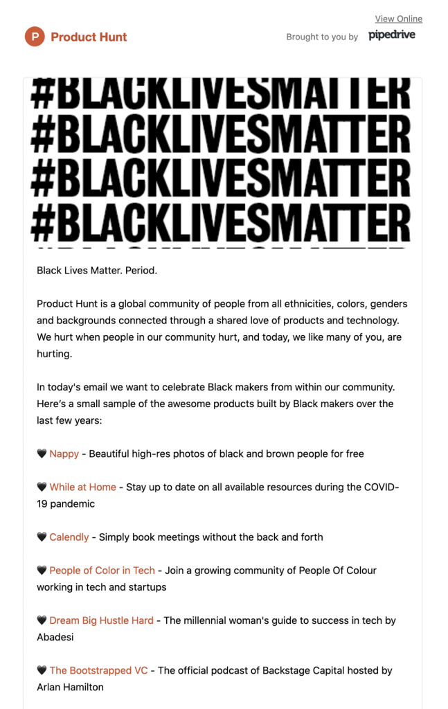email statement by Product Hunt