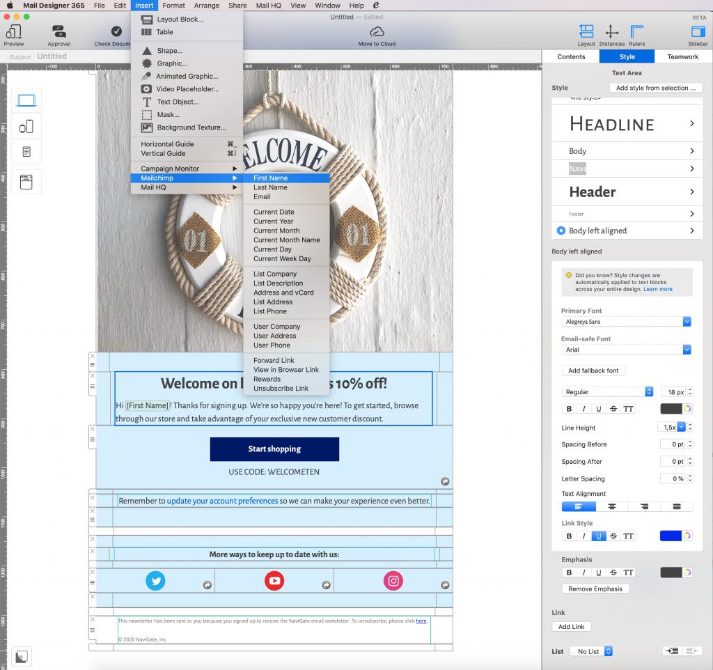 Füge einen Platzhalter in dein Design ein, um die Mail zu personalisieren