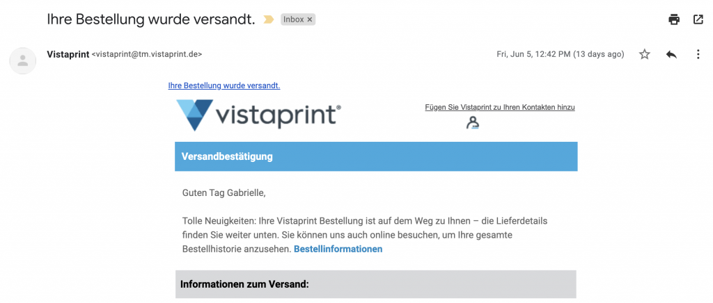 Transactional-Mail von Vistaprint
