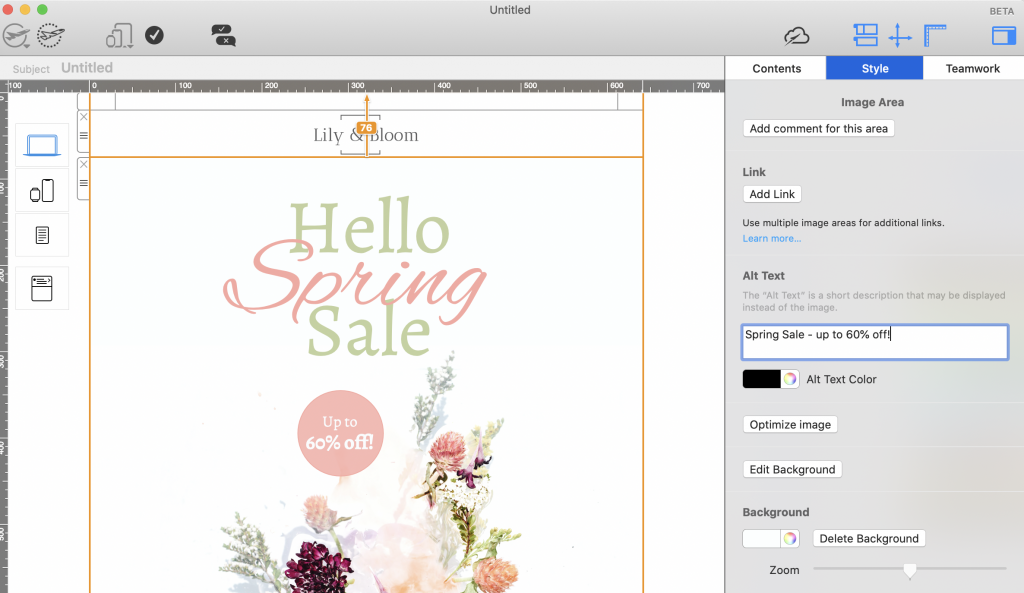 Adding alt text to image areas in Mail Designer 365