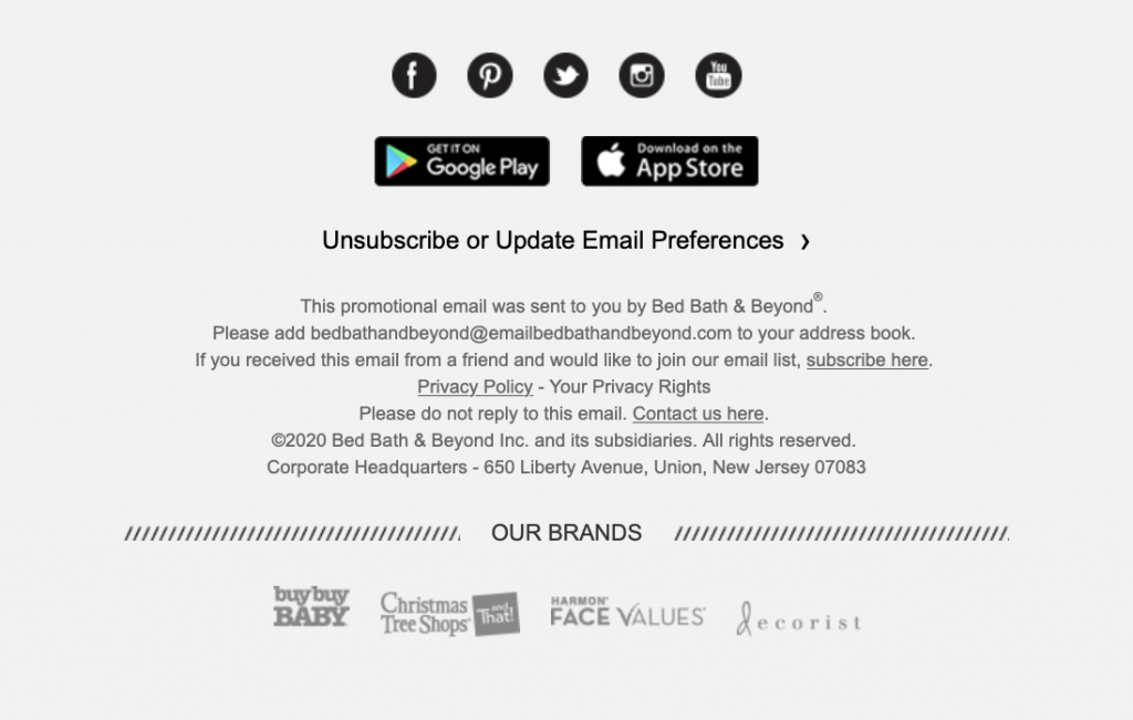 Email disclaimer by Bed, Bath & Beyond