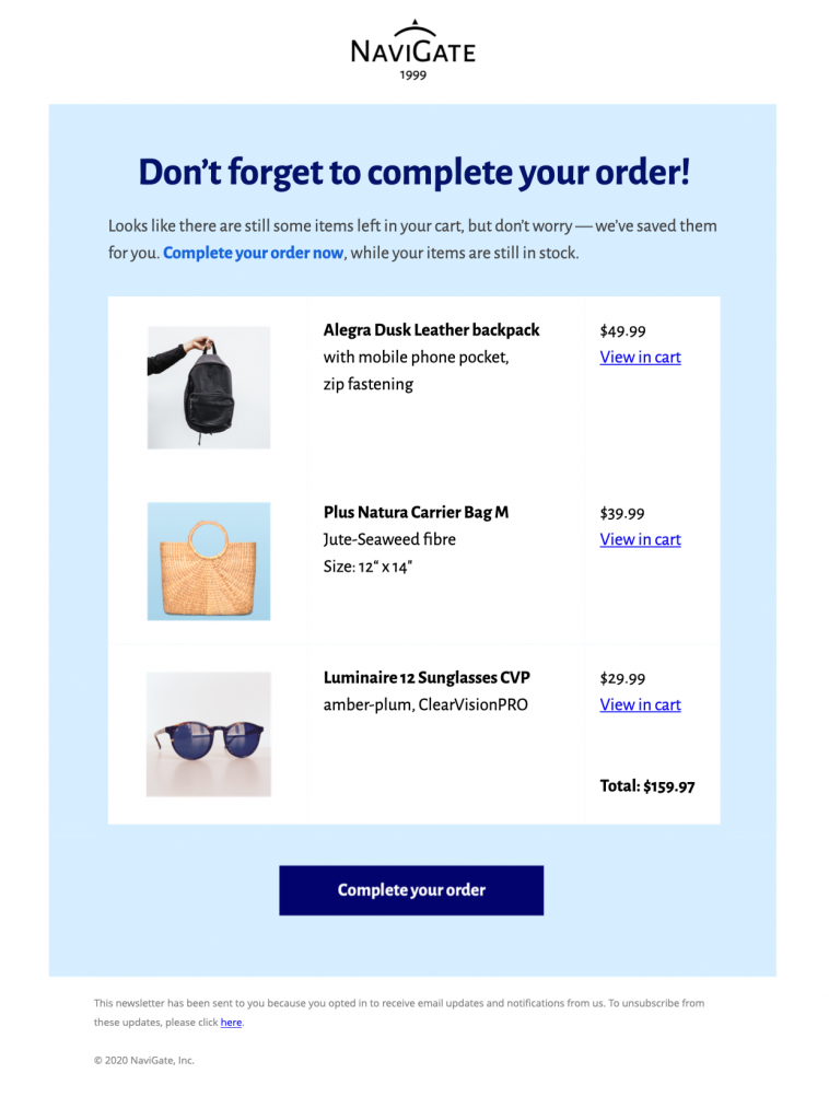 HTML email template for abandoned cart emails