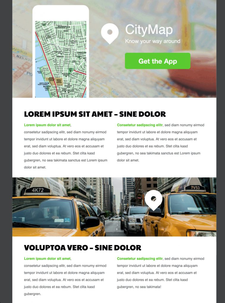 HTML email template for app launch and promotion