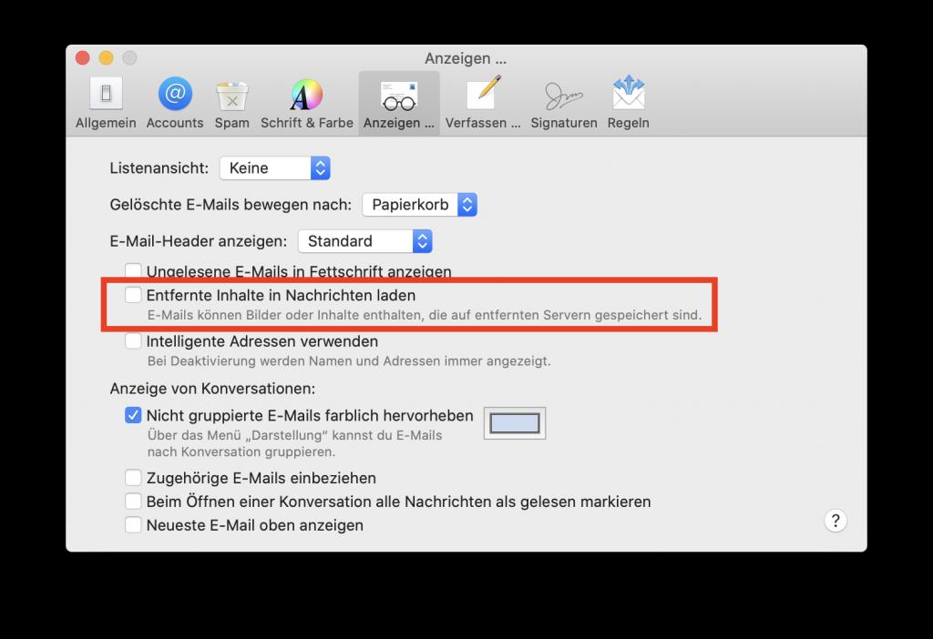 Das Anzeigen von entfernten Inhalten in Apple Mail deaktivieren