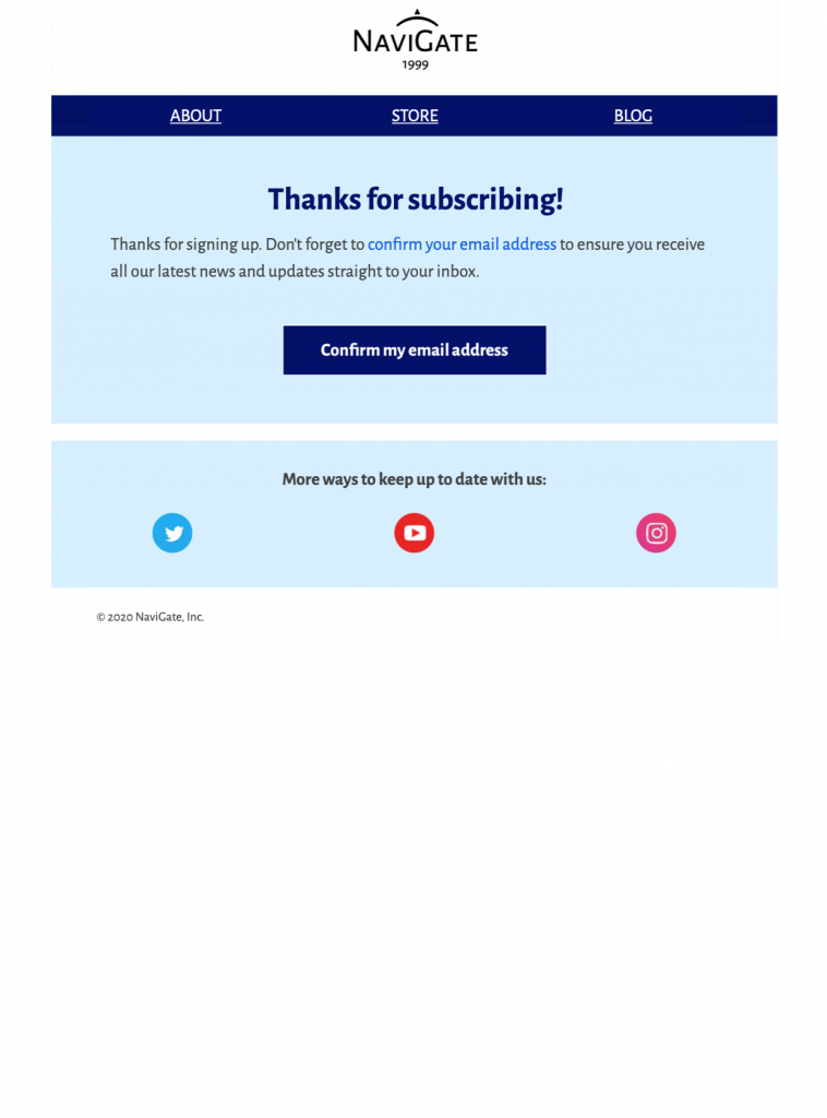 HTML email template for opt in emails