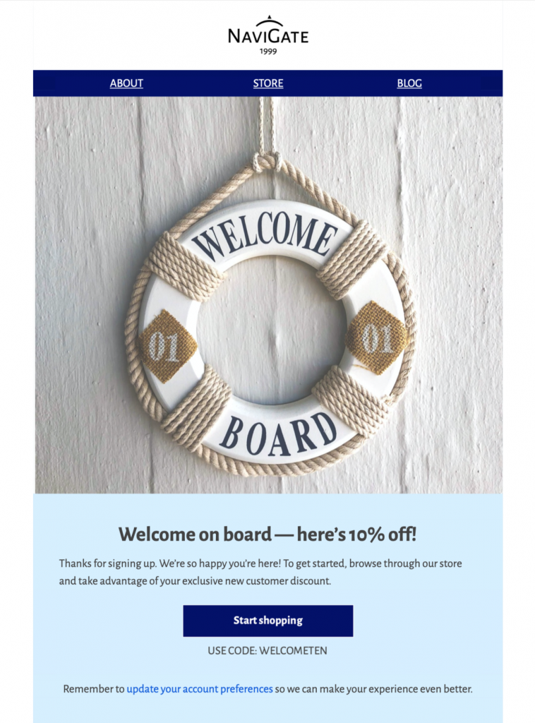 HTML email template for welcome emails