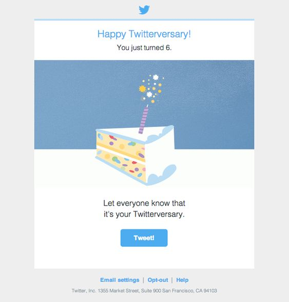 Anniversary email by Twitter