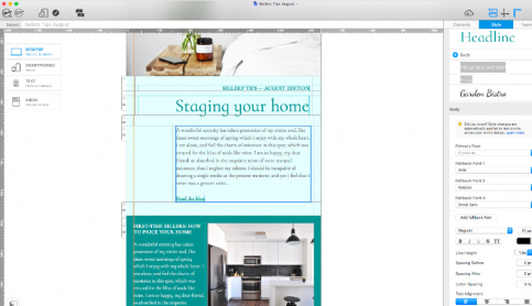 Sellers tips email design for real estate
