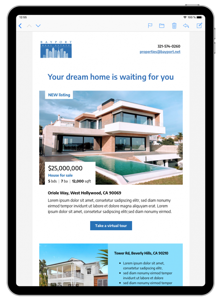 HTML email template for property listing emails