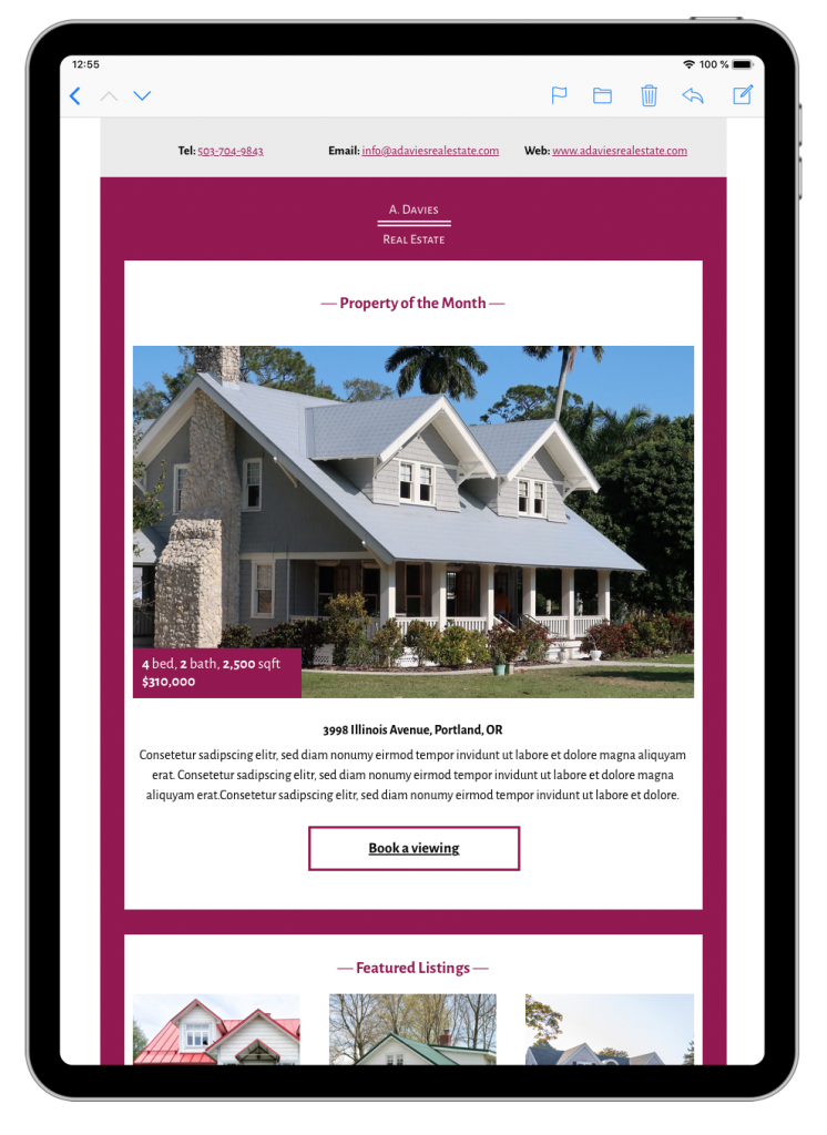 HTML email template for real estate newsletters