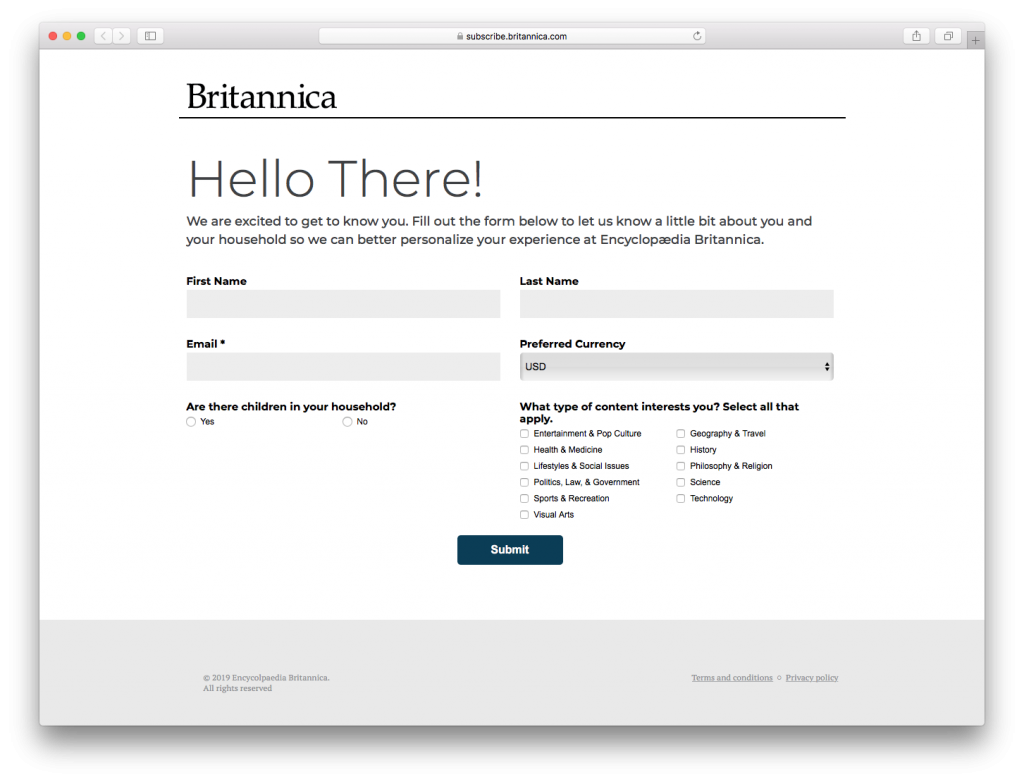 New customer survey from a welcome email by Britannica