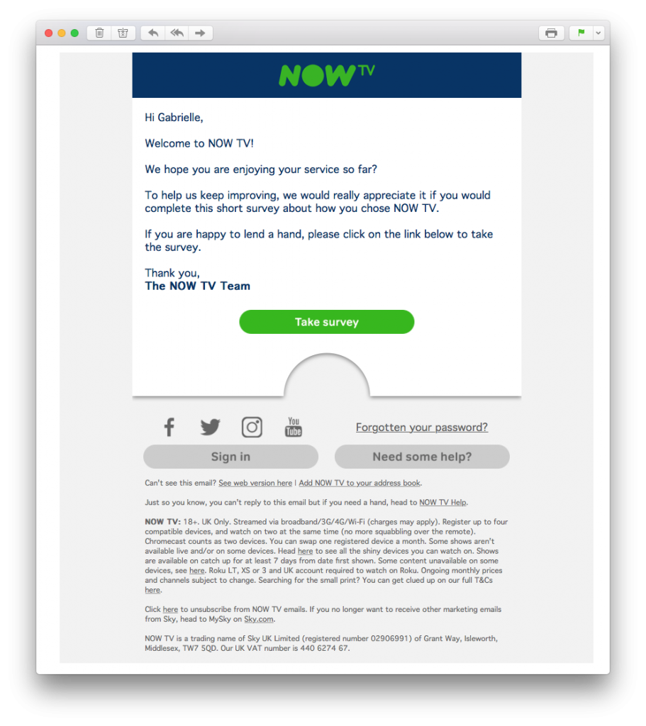 Feedback email in welcome email series by NOW TV
