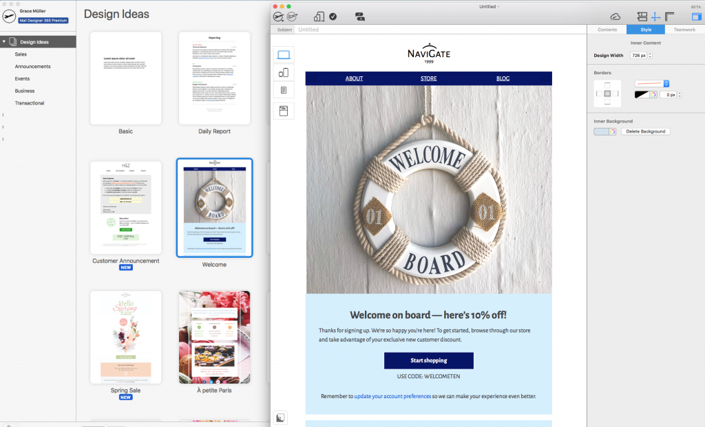 Welcome email template in Mail Designer 365