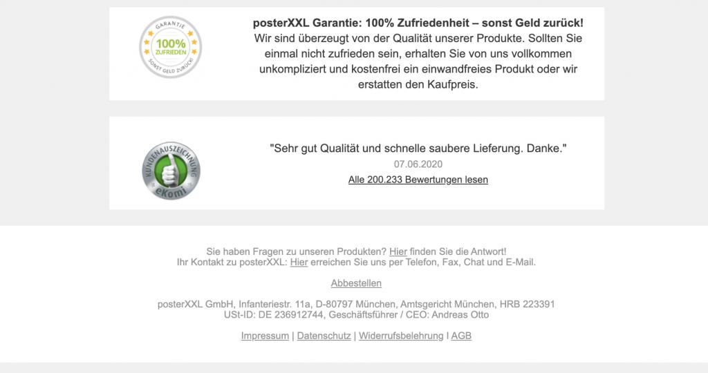 E-Mail-Disclaimer von posterXXL