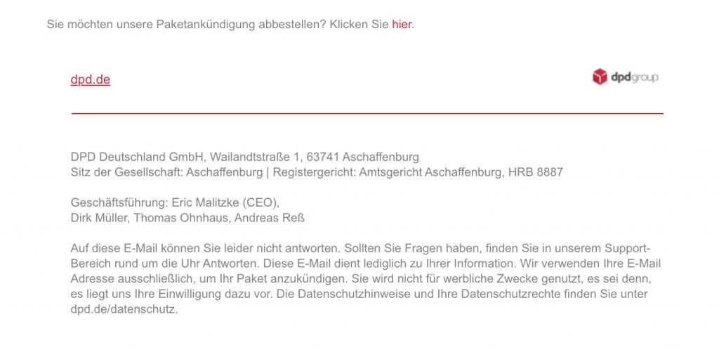 Datenschutzerklärung von DPD im E-Mail-Disclaimer
