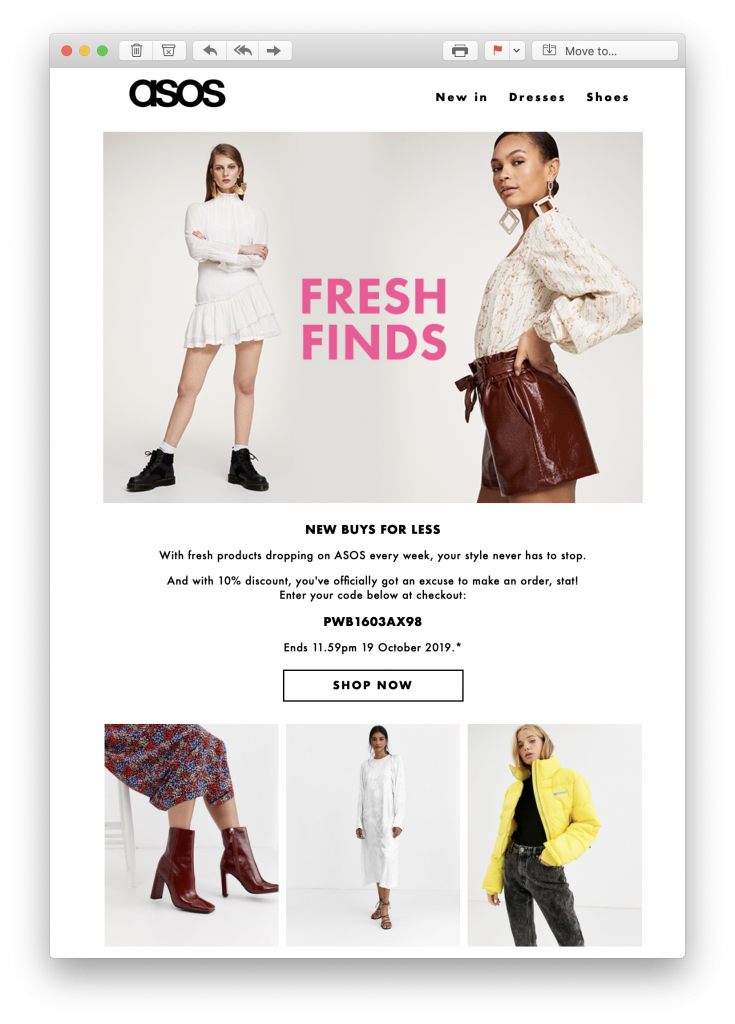 Email welcome offer by ASOS