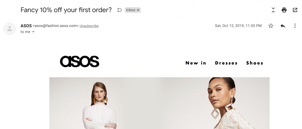 Email subject line in welcome email by ASOS