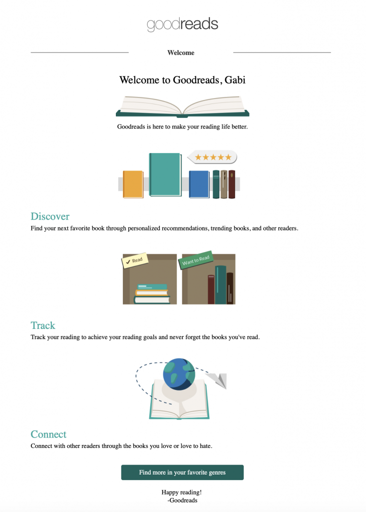 Welcome email by Goodreads