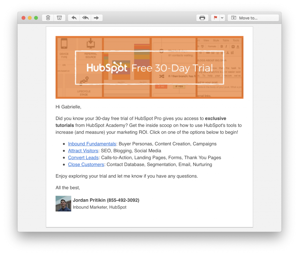 Hubspot action email in welcome email series