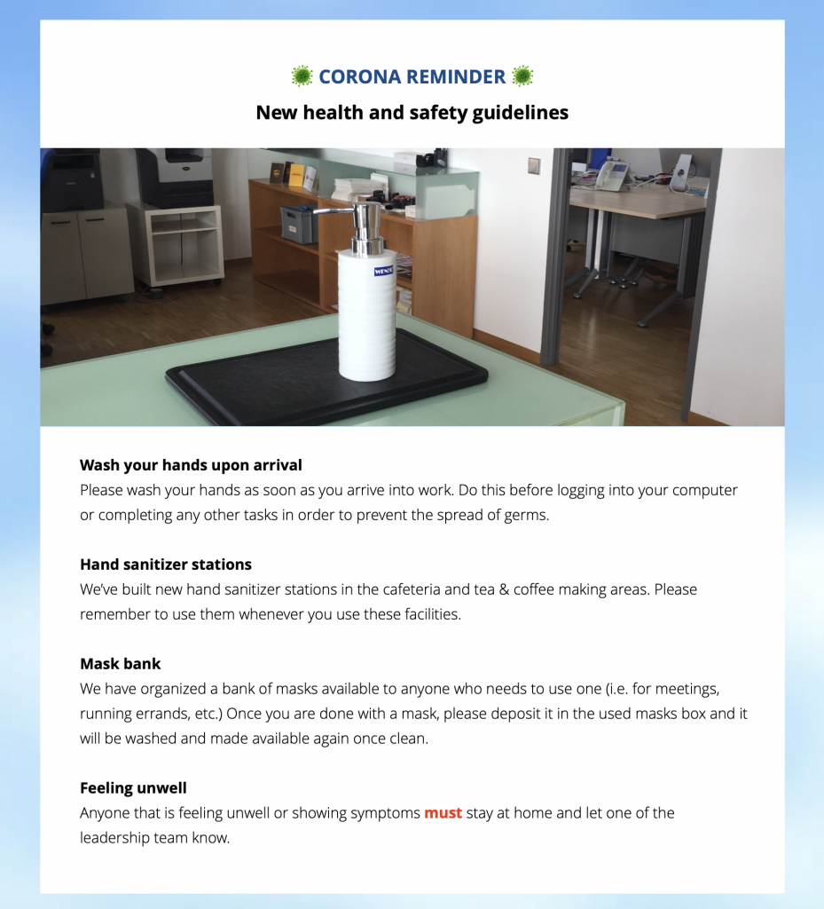 health and safety guidelines in an internal newsletter