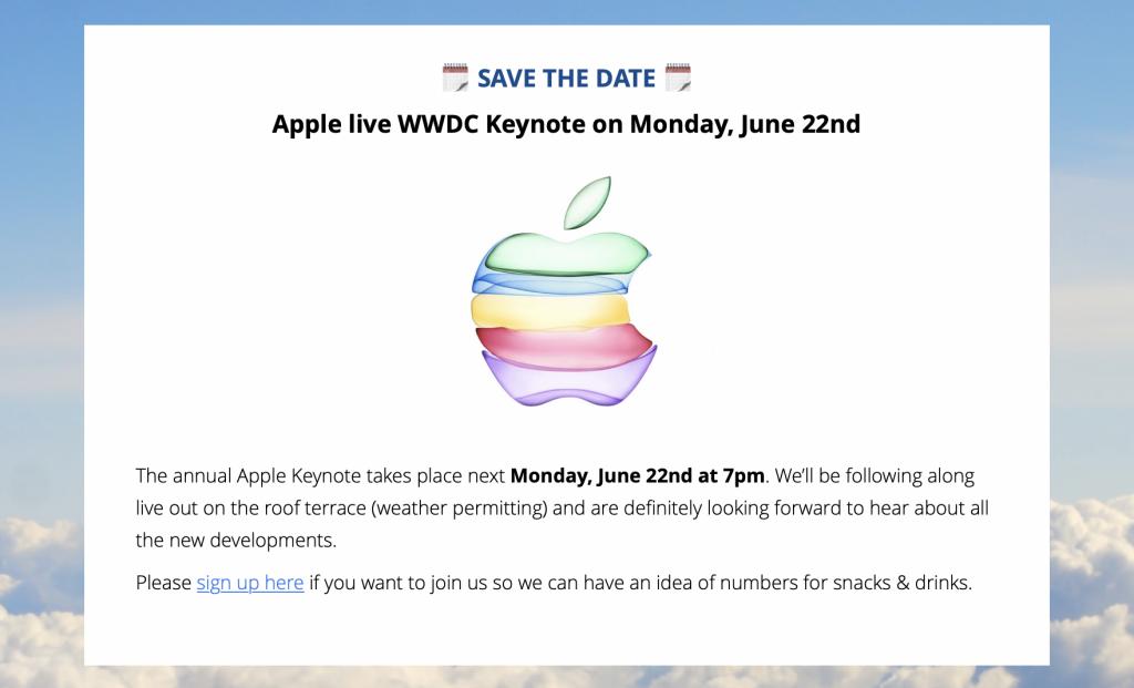 Event reminder in an internal newsletter