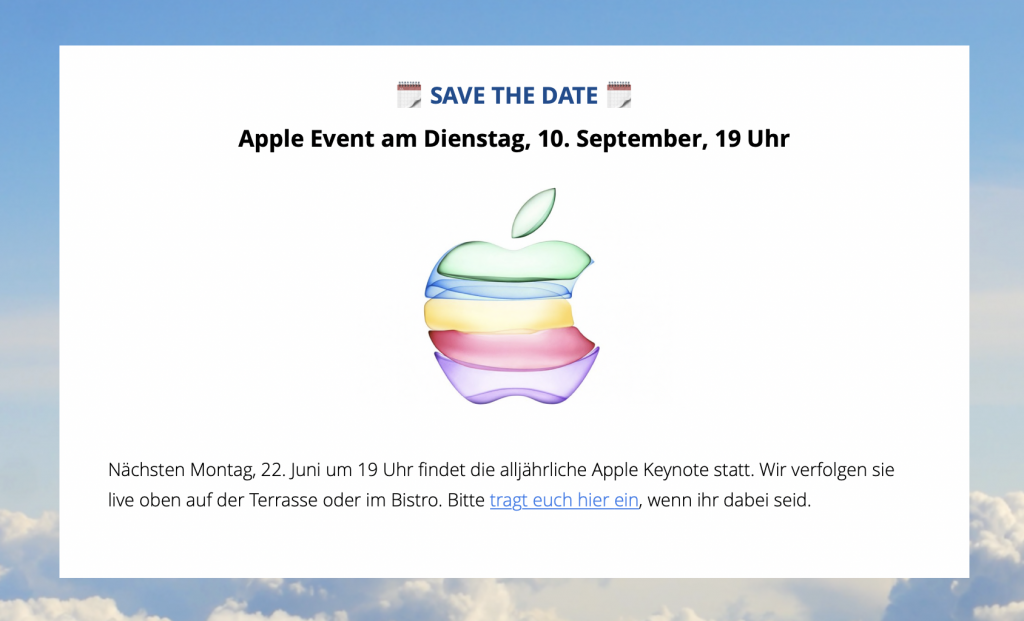 Event-Ankündigung im internen Newsletter