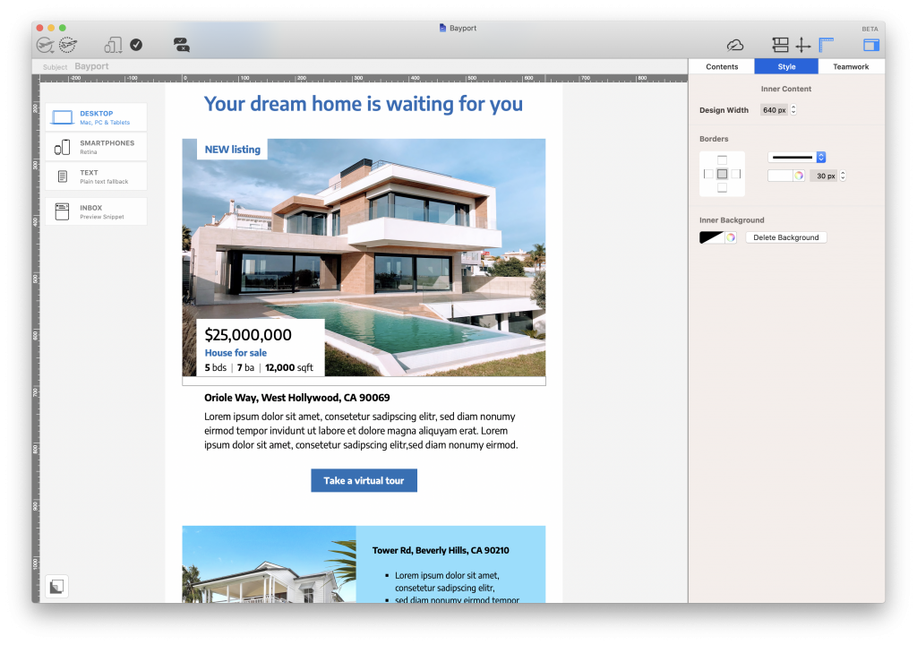 Listing email for real estate agents