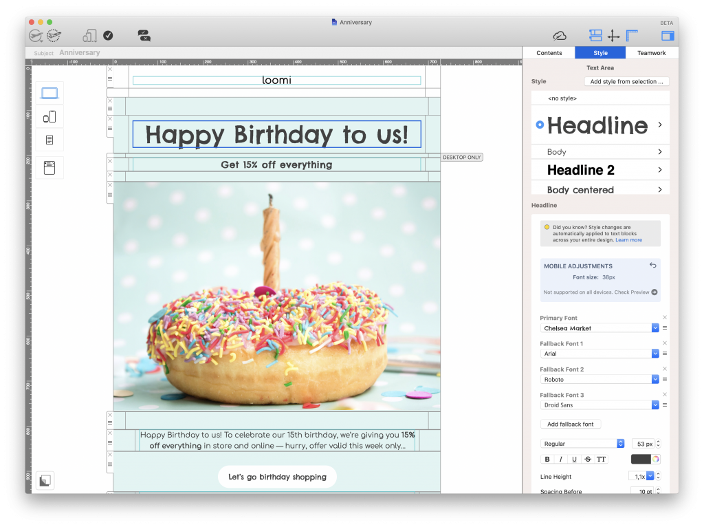 Creating an anniversary email in Mail Designer 365