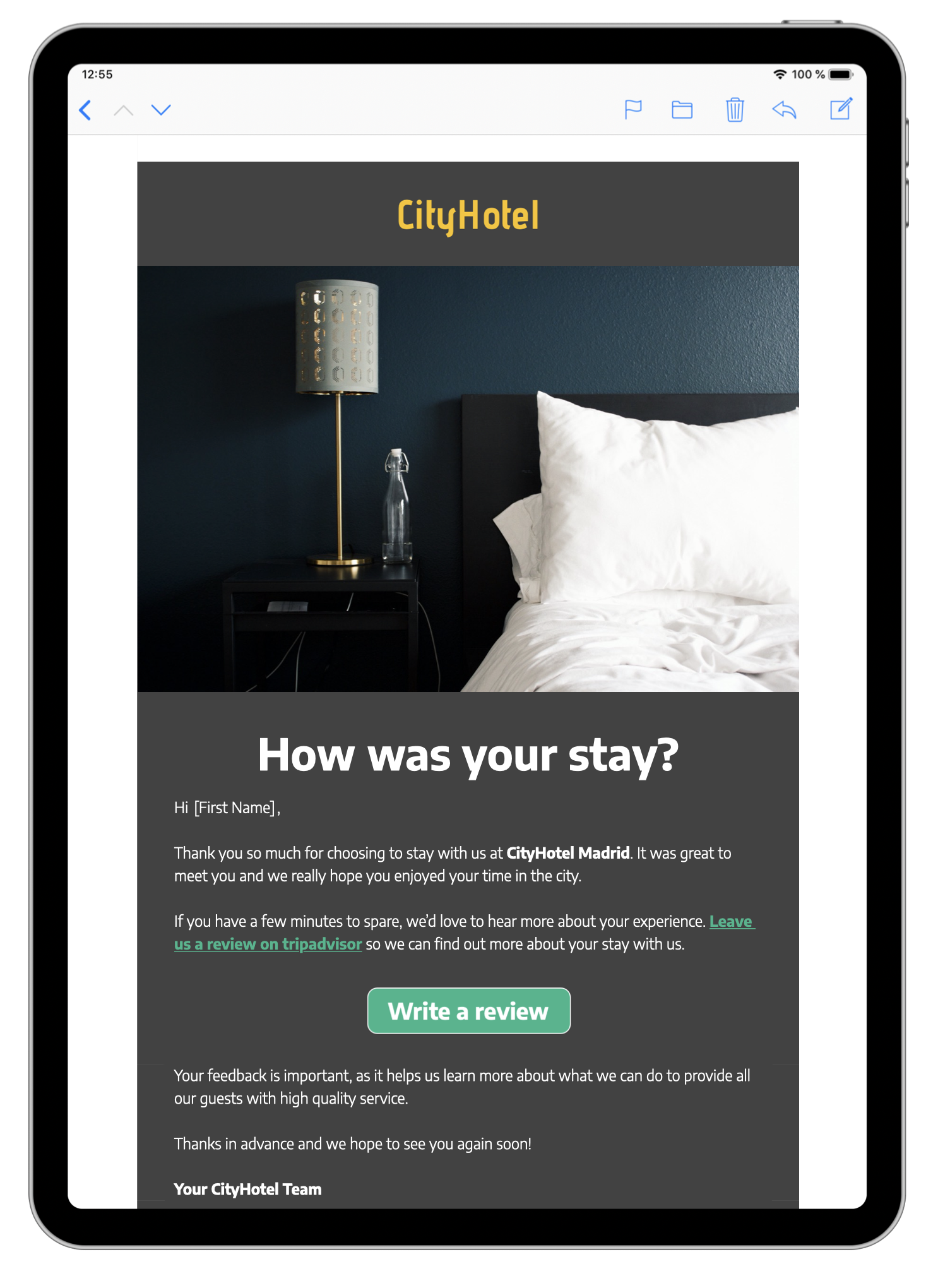 HTML email template for hotel reviews