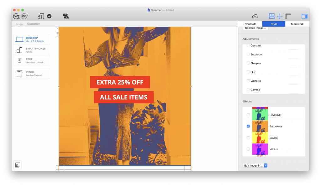 duotone filters for summer email campaigns in mail designer 365