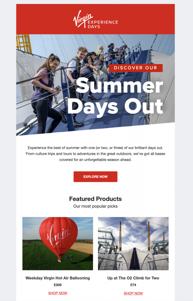 summer days out email promotion by virgin experience days