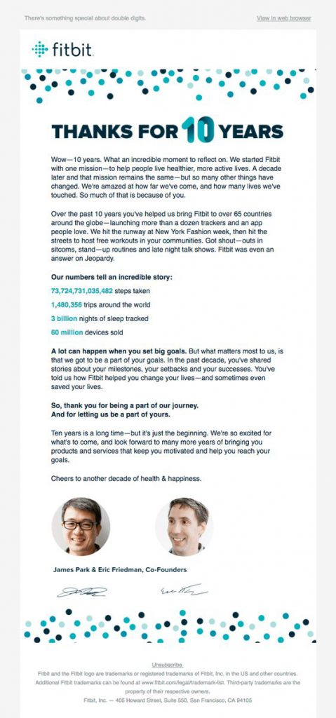 Anniversary email statement by Fitbit
