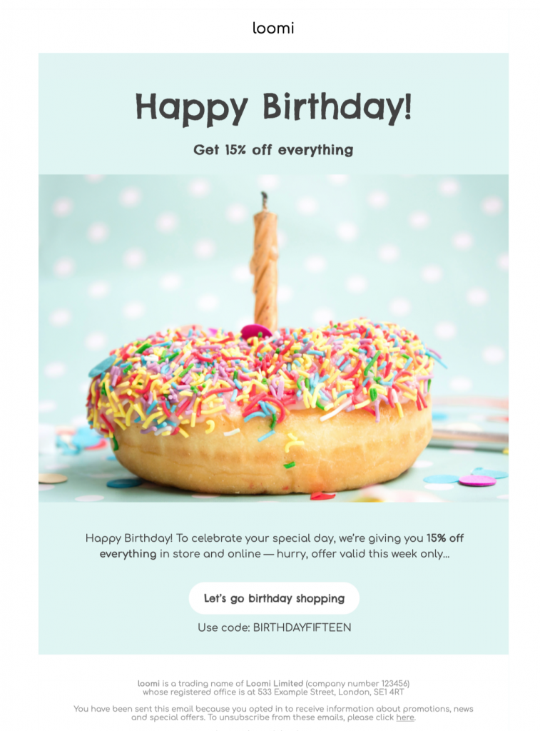 Happy Birthday HTML email template