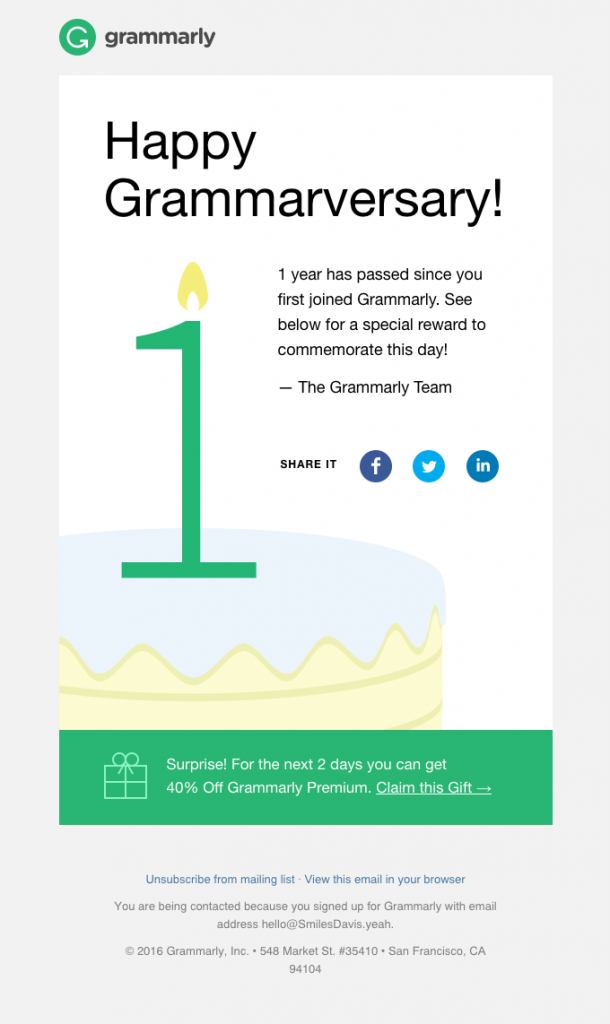 Anniversary email by Grammarly