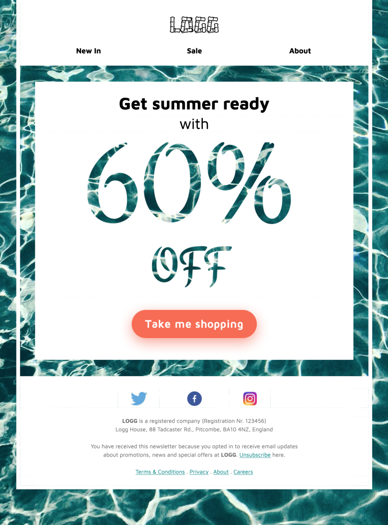 HTML email template for a summer sale or promotion