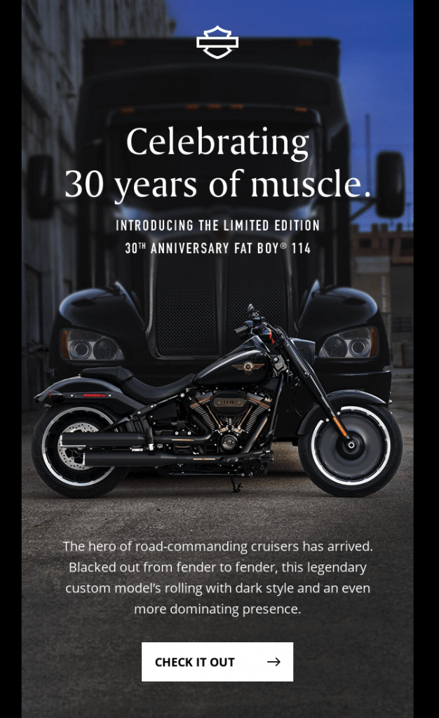 Product anniversary email by Harley Davidson