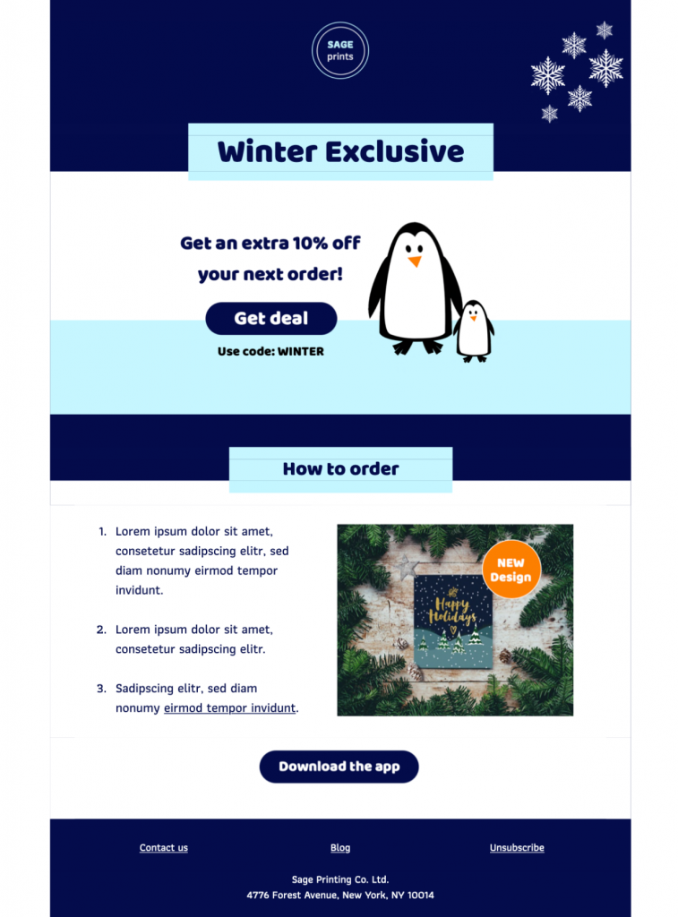 Winter offer HTML email design