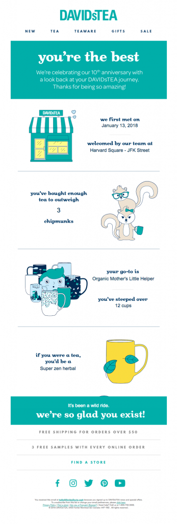 Anniversary email by DAVIDsTEA