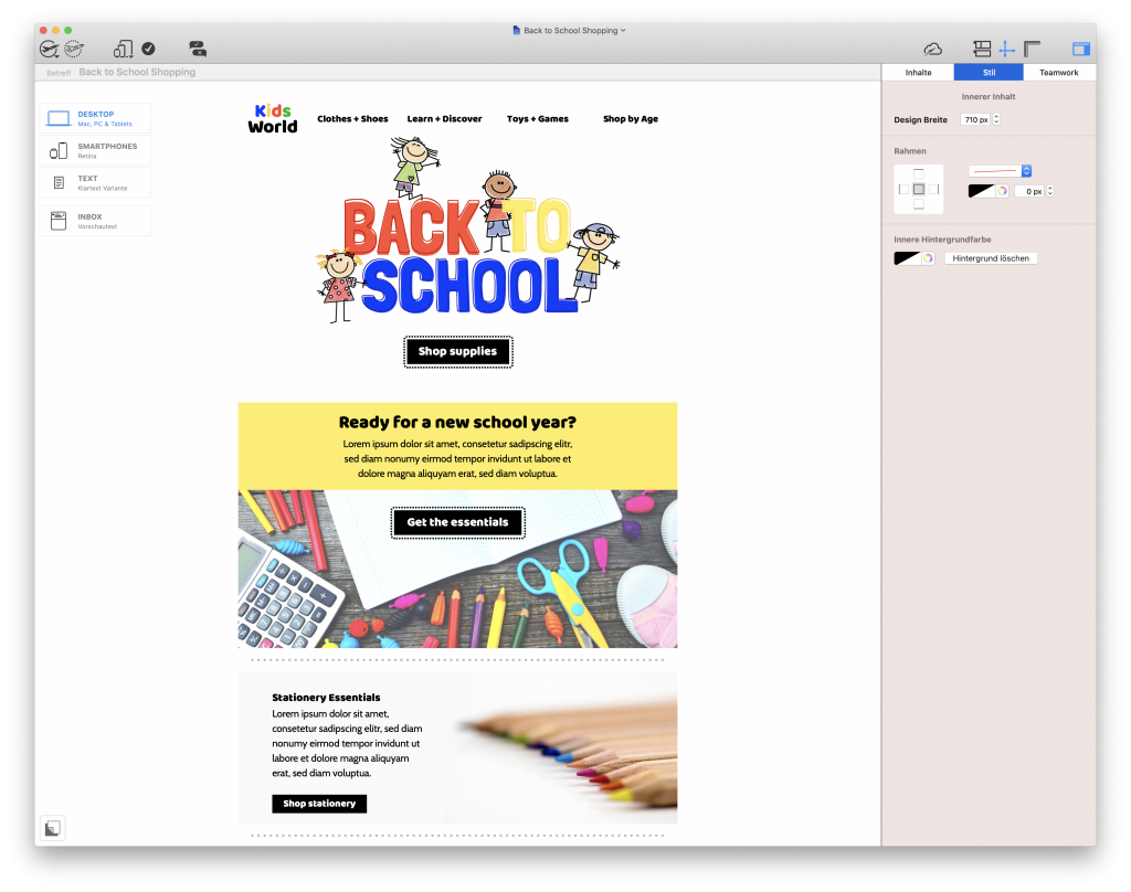back to school email design in mail designer 365