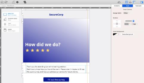 Sending feedback emails in Mail Designer 365