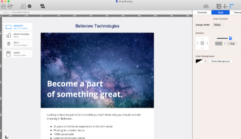 HTML crowdfunding template for startups in Mail Designer 365