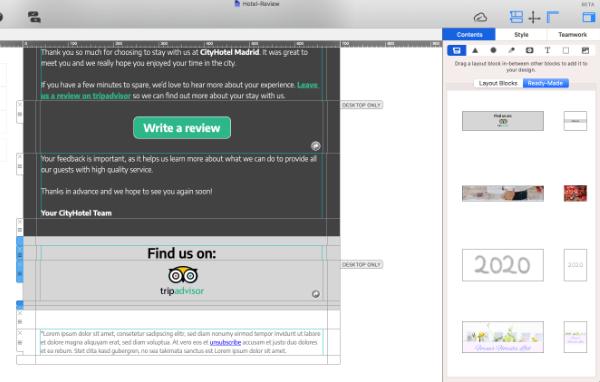Save layout blocks in Mail Designer 365
