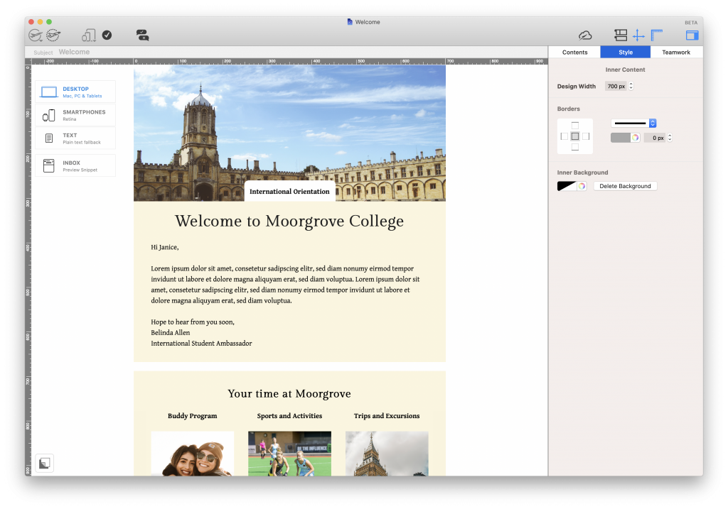 Student orientation email for colleges and universities