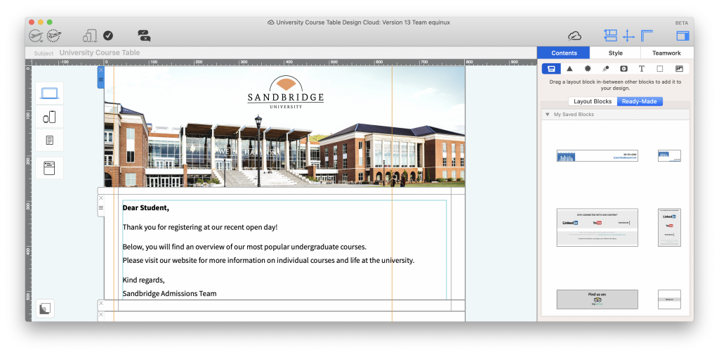 University logo in an email design