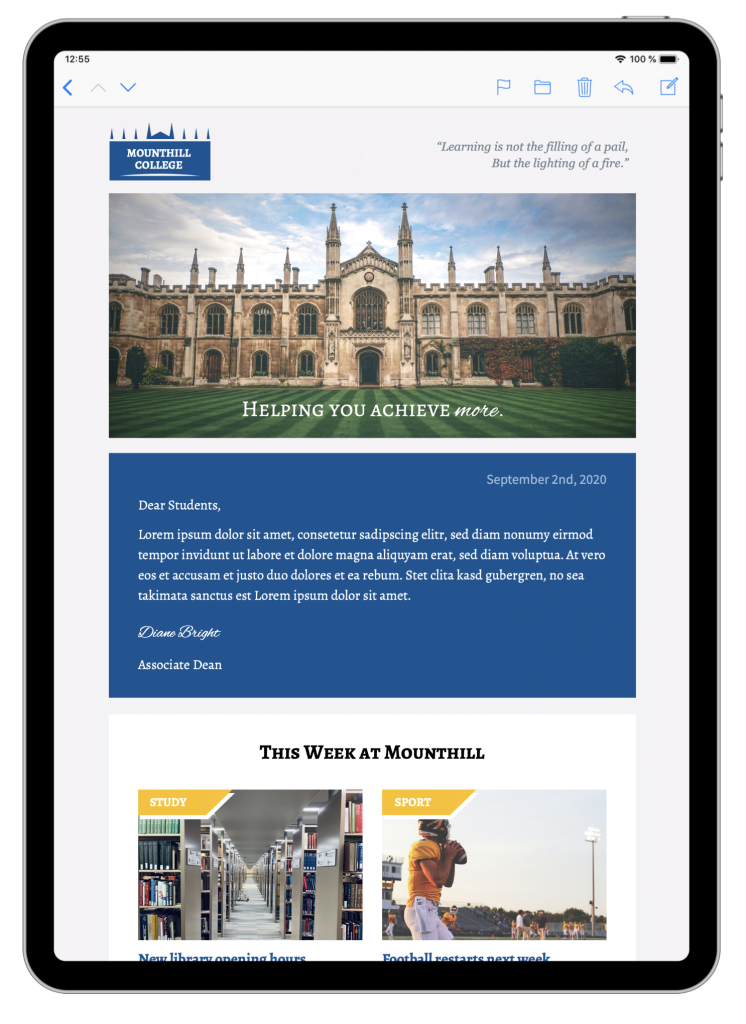 Email template for universities and schools in Mail Designer 365
