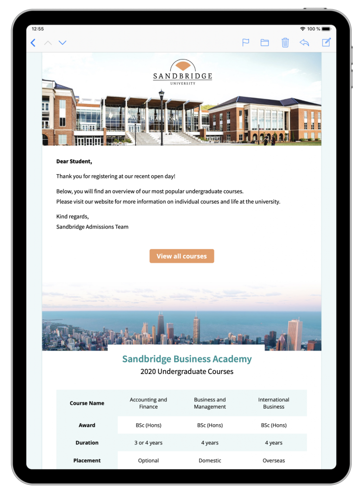 Email template for schools and universities in Mail Designer 365