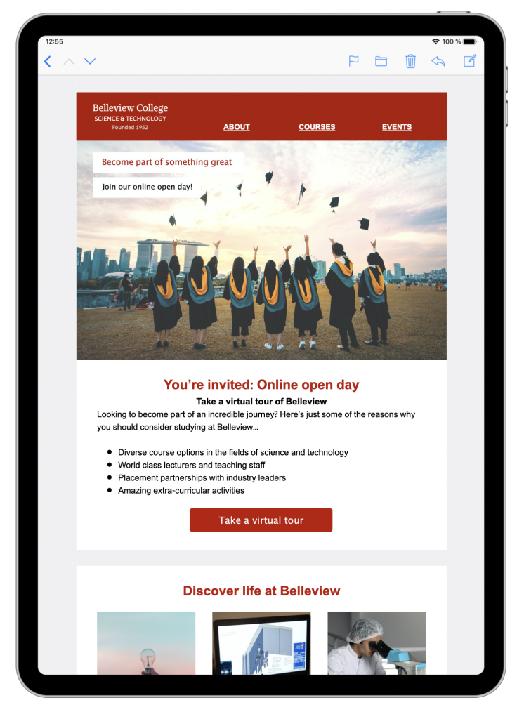 HTML email design for university open day