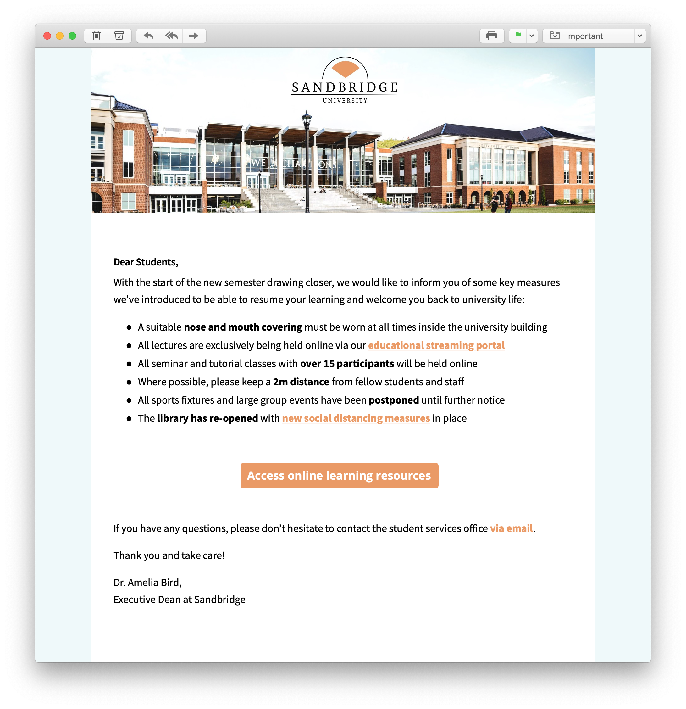 HTML email announcement for schools and universities
