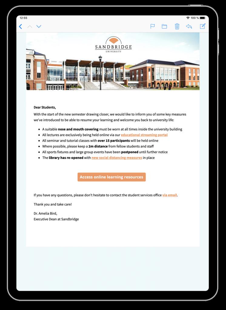 E-Mail-Template für Back to School Ankündigungen